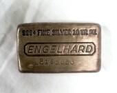 Vintage Engelhard 999 Sterling Silver Bullion Bar 10 Troy Oz P Series Waffle Back