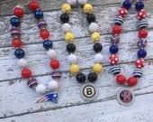 Set of 3, Girls Chunky Necklace, Girls Bubblegum Chunky Necklace, Bruins Chunky Necklace, Red Sox necklace, Patriots Necklace