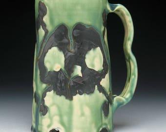 Skull & Crossbones Beer Mug in Melting Swamp Green Glaze