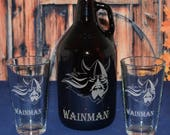 Personalized Beer Growler with 2 Pint or Belgian Tulip Glasses