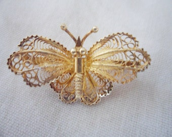 Vintage gold Vermeil 800 Silver filigree butterfly Pin Brooch