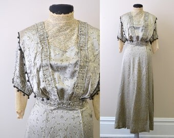 1910s Edwardian Gray Silk Dress