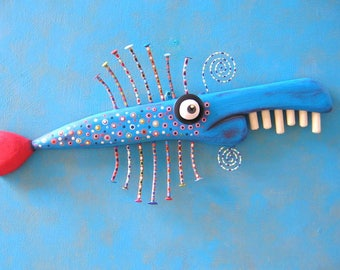 Blue Fish Stick, MADE to ORDER, Original Found Object Wall Sculpture, Wood Carving, Fish Sculpture, Wall Decor, by Fig Jam Studio
