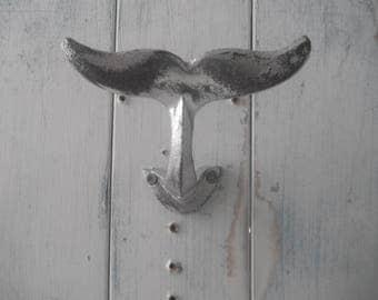 whale hook wall hook coat hanger towel holder bathroom decor nautical whale tail hook nautical bathroom decor aluminum silver distressed