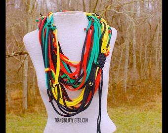 T-Shirt  Scarf , Rasta Infinity Scarf Necklace, Up Cycle , Repurpose , Handmade By: Tranquilityy