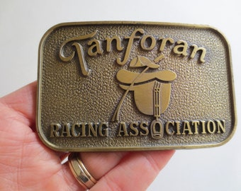 70s Tanforan Racing Association belt buckle, horse racing, jockey, Equestrian Racetrack Jackpot Jen Vintage