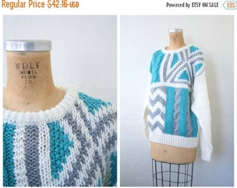 3 DAY SALE NOS vintage 80s sweater - chunky knit sweater / Teal & Gray - 1980s chevron pattern sweater / New Wave - kawaii sweater