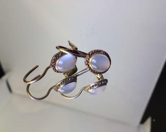 Moonstone Leverback Vintage Earrings Catseye Gilded Wedding Edwardian