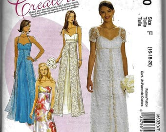 McCalls M6030 Pattern - Titanic Bridal Wedding Formal Evening Dress/Gown UNCUT 6030 Plus Size 16, 18, 20