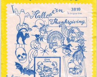 Aunt Martha's Vintage Holiday Hot Iron Transfers Halloween, Thanksgiving Embroidery, Painting, Needlepoint