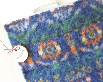 Eco Kitchen Wool Hot Pads / Pot Holders BLUE FAIR ISLE Recycled Hotpads Potholders by WormeWoole