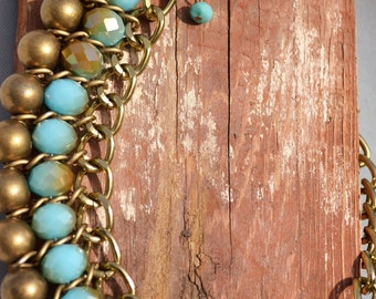 Bohemian Necklace Blue Gold Statement Necklace New