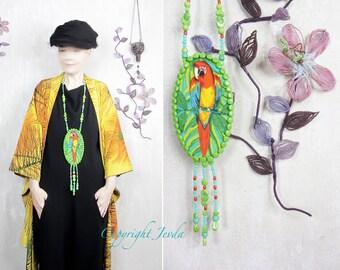 Long Necklace, Parrot Necklace, Fabric Necklace, Beadwork Necklace, Pendant Necklace, Fiber bib necklace, Unique neckpiece, Art bib necklace