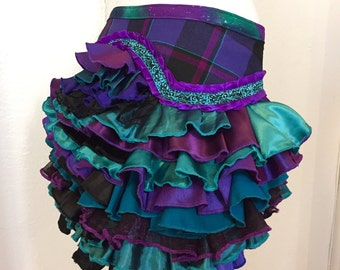Ruffle Bustle purple teal black Burning Man Tutu Pixie Fairy Costume Steampunk Edwardian Victorian Gypsy Burlesque Renaissance goth peacock