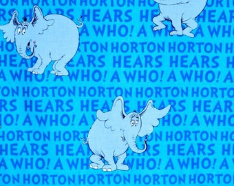 Dr. Seuss fabric, Horton from Cat in the Hat, Robert Kaufman fabric, 100% cotton fabric for Quilting and general sewing projects.