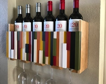 Wall Mounted Wine Rack Holder - Wine Glass Holder - Housewarming Gift - Wine Rack - Wood Wall Art- Organizer - Wedding Gift