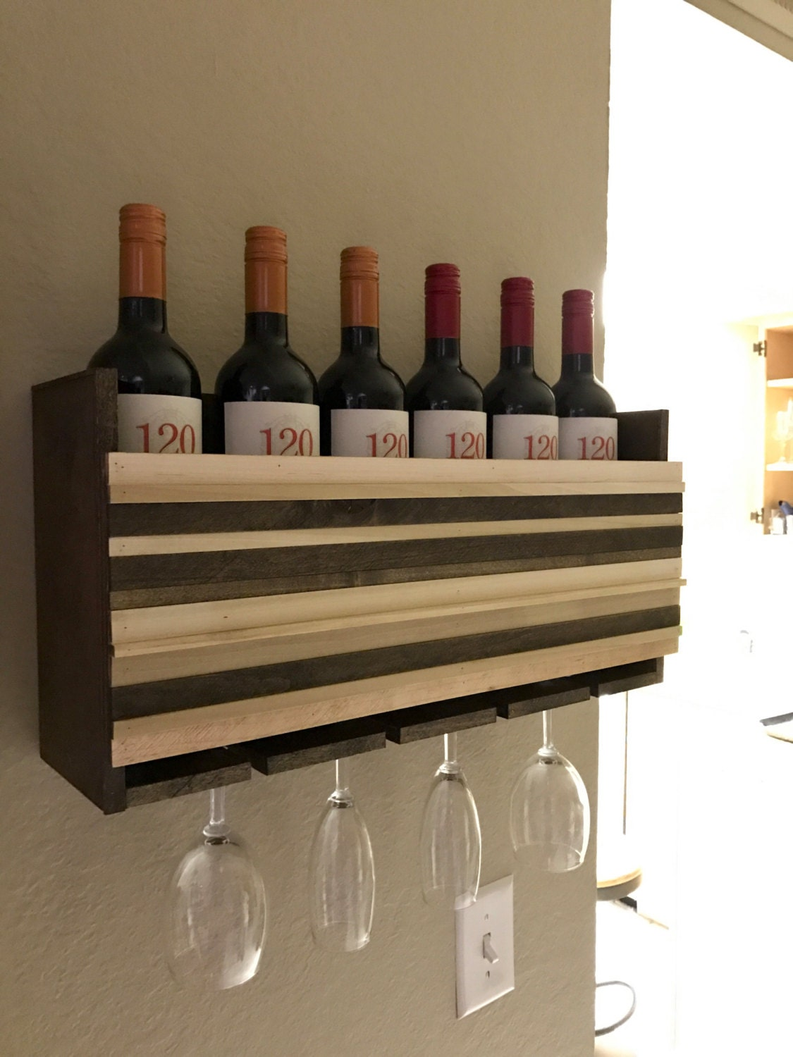 Wall Mounted Wine Rack Holder Wine Glass Holder