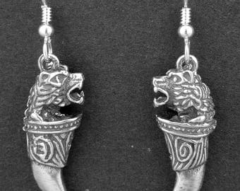 Sterling Silver Lion Head with Claw Earrings on Heavy Sterling Silver French Wires