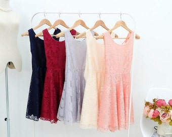 Clearance SALE Lace bridesmaid dresses prom party cocktail backless dress