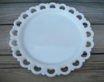 Round Milk Glass Platter,Vintage,Anchor Hocking