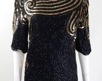 Vintage 1980s Frank Usher Black & Gold Sequin Top Size 10