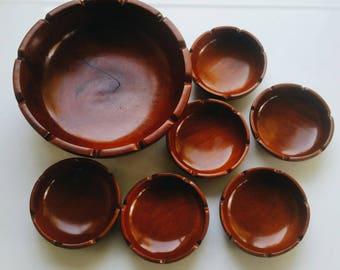 Mid Century Modern Wood Salad Bowl Set of 7 - Modern Farmhouse Kitchen - Vintage Wooden Bowls Haiti