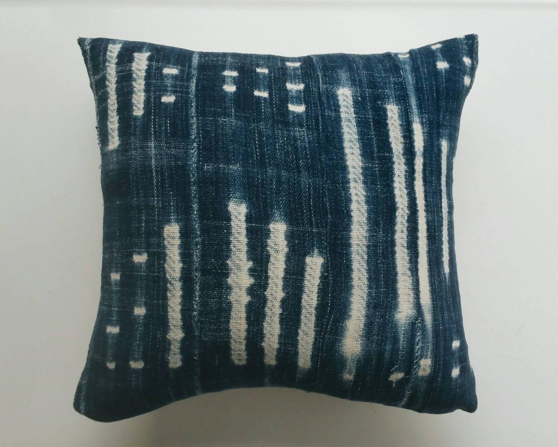 Indigo Mudcloth Pillow Cover Blue Bohemian Pillow Modern