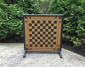 """25"""",  Checkerboard, Game Board, Game Boards, Wood, Wooden, Board Game, Primitive, Folk Art, Checkers, Hand Painted"""