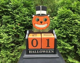 Halloween, Countdown, Primitive, Folk Art, Calendar, Owl, Wood, Blocks, Candy Countdown, Weeks, Days