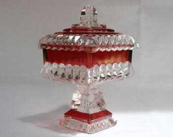 Westmoreland Flash Cranberry Glass Lidded Compote Candy Dish, Wedding Pattern. C. 1950.