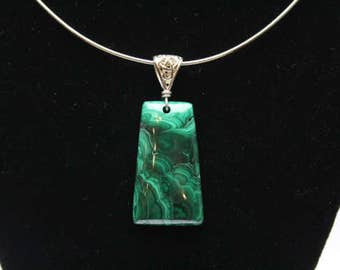 Unique malachite gemstone pendant fine artisan jewelry