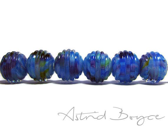 Mystic Ribbed Rounds Art Glass Beads - Surface Texture on these Beads Makes Them Fun to Fiddle with -  Great with Macrame Cording or Leather