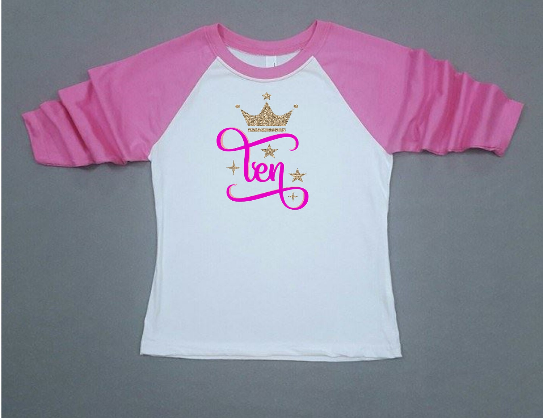 Tenth Birthday Shirt 10th Birthday Birthday Girl Gold