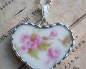 Fiona & The Fig Antique -Broken China - Victorian French Limoges - Soldered Necklace Pendant Charm- Jewelry
