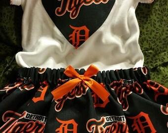 Girl Detroit Tigers Baseball Bodysuit with skirt