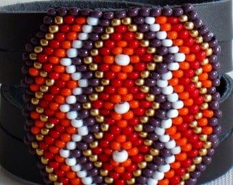 Leather cuff bracelet, Beaded Bracelet, Native American Bracelet