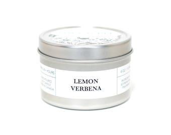 LEMON VERBENA - Travel Candle, Tin Candle, Soy Candle, Vegan, Natural Home Fragrance