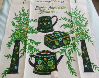 Early American Tinware Kitchen Towel, New Old Stock, Linen Unused