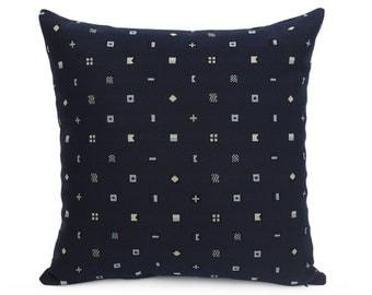 Sunbrella Navigation Mariner Indoor/Outdoor Cushion Cover, Dark Blue Patio Pillow Cover, Maritime Nautical Signal Flags, Blue Nautical Decor