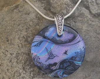 Hummingbird Necklace Dichroic Fused Glass Hummingbird Pendant