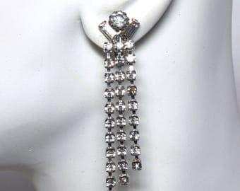 Long Dangle Rhinestone Earrings, Formal Wear, Bridal Jewelry, Wedding Jewelry, Vintage, White Rhinestone, Elegant Dressup Earrings