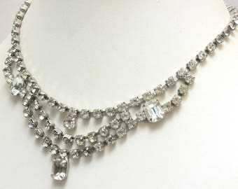 Crystal Rhinestone Bib Choker Necklace, Wedding, Bridal Jewelry, Silver Tone