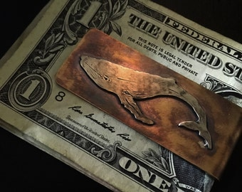 Humpback whale money clip- hand made ocean life whale money clip