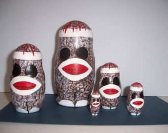 Hand painted Sock Monkey Collection stacking nesting doll set