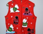 Vintage Christmas Sweater Vest Happy Puppies