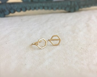 Beth (earrings) - Gold hexagon stud, small, chic, new, modern