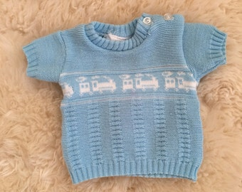 Vintage baby blue choo choo train boys sweater