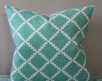 "LuLu DK for Duralee - Gaston in Aqua/Seafoam Green - 16"" - 24"" Square and Lumbar Sizes - Decorative Designer Pillow Cover"