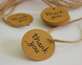 Brown Kraft Thank You Tags 25+ Pieces Twine Included / Weddings / Showers / Parties