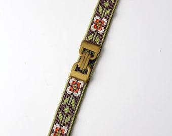 1920s beaded belt, vintage hand beaded belt with brass buckle